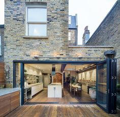 Back of house opening kitchen extension open plan, extension ideas, side return extension, House Design, House, House Extensions, Outdoor Kitchen Design, Interior Architecture, House Exterior, House Styles, Exterior Design, London House