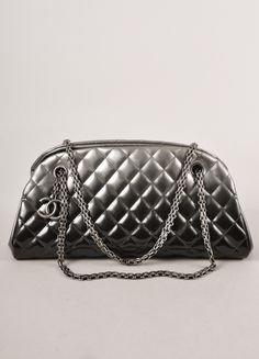 "Silver Ombre Patent Leather Quilted ""Just Mademoiselle"" Bowler Bag"