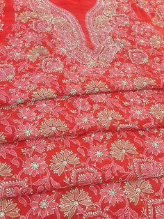 Lucknowi Chikankari Online Suit Length 3 piece Red Georgette with very fine resham chikankari murri & shadow work with designer neckline & embroidered dupatta