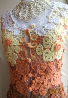 "Vests handmade.  Fair Masters - handmade.  Buy Vest ""Reflections in autumn garden"" - Irish lace.  Handmade.  variegated"