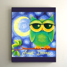 ON SALE Childrens wall art PRINT Sweet Dreams Owl 8x10 di nJoyArt