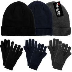 a14d3a18ff7 DG Hill Mens Winter Hat And Gloves Set with Thinsulate fleece lining warm Knit  winter Beanie Hat   Watch Cap And Driving Gloves For Men   Teen Boys Cold  ...