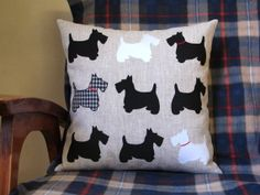 "Pillow 16""x 16"" ( 40x40 cm) . Scottish Terrier Dogs. Applique fabric, 100% linen, cotton,rayon. Black and white."