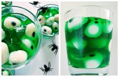 Creepy Peepers Jell-O make in individual disposable shot glasses.