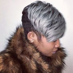 Hair style by Atlanta Based Stylist Latise Stewart( Short Sassy Hair, Short Grey Hair, Short Black Hairstyles, Short Hair Cuts, Girl Hairstyles, Short Hair Styles, Natural Hair Styles, Gray Hair, Pixie Styles
