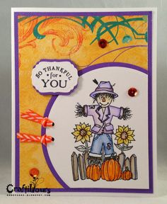 Unity Stamp Company, Scarecrow Thankful for You, 3 Girl JAM ribbon