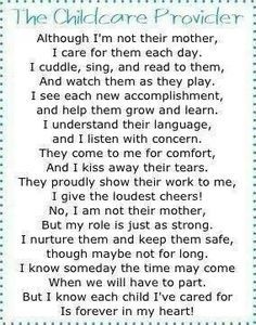 Childcare poem to touch every childcare providers heart.