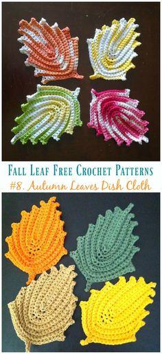 Autumn Leaves Wash Cloth Crochet Free Pattern - Autumn Free P. Bag Crochet, Crochet Fall, Crochet Dishcloths, Freeform Crochet, Crochet Crafts, Crochet Stitches, Crochet Projects, Crochet Clothes, Crochet Leaf Free Pattern