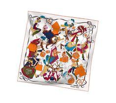 2014 F/W | Le Bal Masqué | Vintage silk twill scarf (70 cm x 70 cm) | Ref. H982851S 13 | BLANC/ ORANGE/BLEU