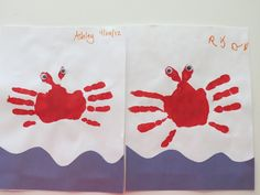 """Crab hand prints for """"Under the Sea"""" unit.  SO CUTE!  I love this!"""
