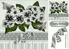 Beautiful painted silver flowers and butterflies with satin bow 8x8 on…