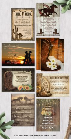 Country #Western themed #weddinginvitation colllection such as a pair of cowboy boots and a Western style hat, mason jars, burlap prints, barn wood backgrounds, and country western themes like horseshoes. Unique printed western wedding styles invitations  with Cowboy Pair Invitations, Western-dressed couple, clad in cowboy boots, flannel and horses, horseshoes and more.  Great for rustic Cowboy Weddings and rustic #CountryWeddings. #westernweddinginvitations