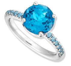 Color Candy London Blue Topaz and Blue Sapphire Ring in White Gold by Jane Taylor
