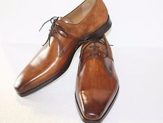MAGNANNI Oxford dressing Shoe Leather Brown Suede accent laceup plain toe