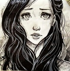 Drawing of Crying girl.