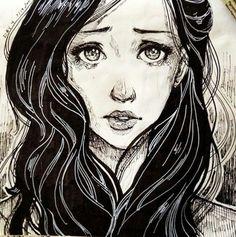 Drawing of Crying girl.