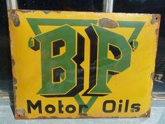 BP Oil Antique Porcelain Sign (Old Vintage Motor Oil Gas Station Advertising Pump Sign)