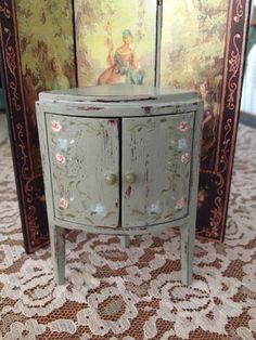 Hand painted distressed corner cabinet. by BobbieJMinis on Etsy