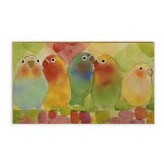 Display your art in a unique way! Parrots in watercolor embedded on an 8x14 Waterfall Panel from Wood Photo. www.thewoodphoto.com