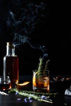 Maple Old Fashioned at FARM at The Carneros Inn - Sazerac Rye Whiskey, Peychaud's Bitters, Organic 100% Pure Maple Syrup, K&J Orange Peel, Torched Rosemary
