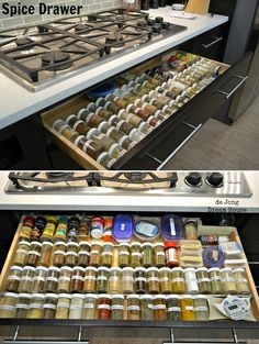 This might work in an island or under a countertop, but I'd never keep herbs and spices anywhere near a hot area like this cook-top.