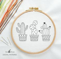 Cactus Prickly Pear Digital hand embroidery pattern by inkandocean Cactus Embroidery, Embroidery Hoop Art, Hand Embroidery Patterns, Vintage Embroidery, Cross Stitch Embroidery, Embroidery Designs, Embroidery Tattoo, Etsy Embroidery, Embroidery Sampler