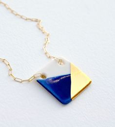 large square porcelain necklace gold-dipped by ashjewelrystudio