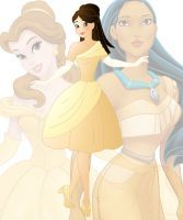 disney fusion: Belle and Pocahontas by Willemijn1991
