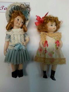 Muñecas de porcelana realizadas en el taller TM.