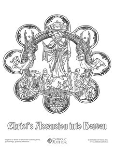 Christ's Ascension into Heaven -  Free Hand-Drawn Catholic Coloring Pictures