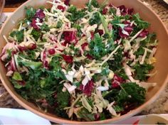 Christmas Dinner Salad Slaw- kale radicchio snow white cabbage seeds and nuts