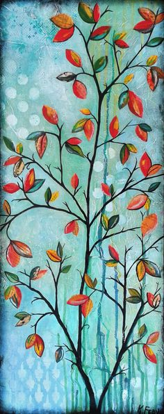 Leaves by Katie Frey. Mixed Media Art at artwithkatie.blogspot.com