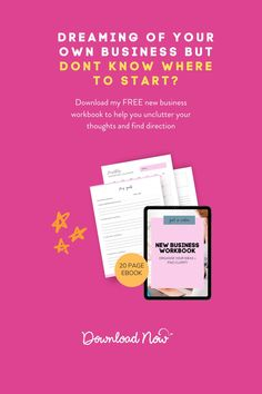 My New Business Workbook is what I wish I had when I first decided to start my business. Taking the time to sit down and organise my thoughts made all the difference. My workbook will guide you through everything you need to consider to set a strong foundation for your business. From defining your ideal customer, to working on your mindset - my planner has it covered! Make a real start today, get organised, and get excited. Dowonload your business planner for free! Creating A Business, Starting A Business, Business Planner, Business Tips, Time Management Tips, Business Management, Online Business Plan, Business Inspiration, Design Inspiration