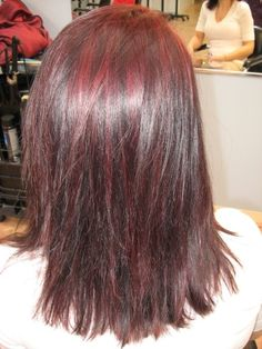 Tone on tone burgandy red hair