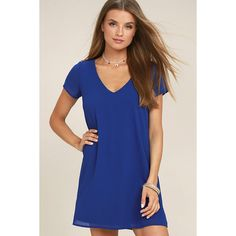 Freestyle Royal Blue Shift Dress ($39) ❤ liked on Polyvore featuring dresses, blue, short sleeve dress, t-shirt dresses, short-sleeve shift dresses, short sleeve shift dress and short-sleeve dresses