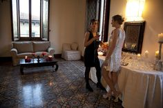 Valentina and Julia. Visiting Pitti fashion show in Florence.Shooting in apartment