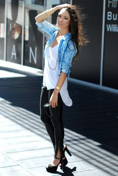 leather leggings with chambray shirt