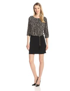 3/4 Sleeve Printed Blouson Dress with Tie by AGB