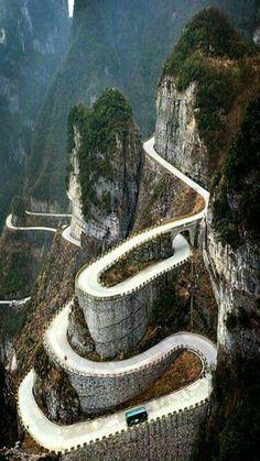 The road up Tianmen Mountain, China. Tianmen Mountain is located within Tianmen Mountain National Park, Zhangjiajie, in northwestern Hunan Province, China. Zhangjiajie, Places To Travel, Places To See, Places Around The World, Around The Worlds, Wonderful Places, Beautiful Places, Beautiful Roads, Amazing Places