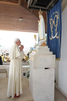 """Pope Benedict XVI. Mary worship. We do not pray to """"Mary"""" (the """"queen of heaven"""" a false god). Idolatry is forbidden by God. For there is one God, and one mediator between God and men, the man Christ Jesus. 1 Timothy 2:5"""