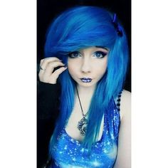 I just love how blue her hair is ❤ liked on Polyvore featuring beauty products, haircare and hair