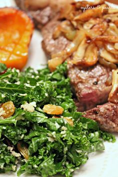 Ribeye Cooked in Cast Iron, Sauteed Shiitakes & Onion, with Kale Salad & Caramelized Butternut Squash Cast Iron Skillet Steak, Iron Skillet Recipes, Cast Iron Recipes, Beef Recipes, Cooking Recipes, Healthy Recipes, Beef Meals, Healthy Food, How To Cook Ribeye