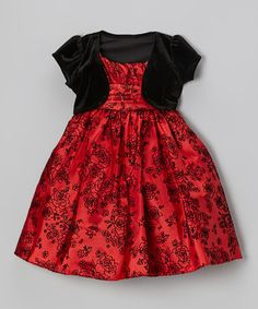 Take a look at this Red & Black Flocking Dress & Velvet Bolero - Toddler & Girls by Cozy Bug on #zulily today!