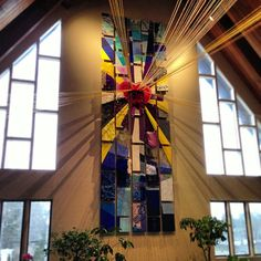 At Sanctuary, Marshfield MA and their use of art behind the altar.  Note the strings coming off the heart at the center.  Beautiful.