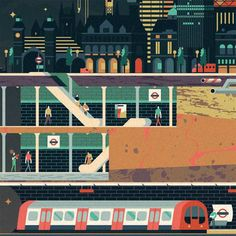 WIRED UK - LAYERS of LONDON on Behance #london #vector #flat #tube #illustration