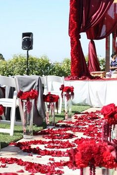 Red Carnations for aisle, red wedding mandap