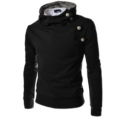 TheLees 4BH Mens Casual Luxury Buckle Hoodie Slim Cotton Sweatshirts ($12) ❤ liked on Polyvore featuring men's fashion, men's clothing and men's hoodies