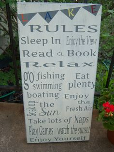 Lake Rules with bunting flags, Personalize your rules,vintage style lake,beach,cabin signs,summer signs