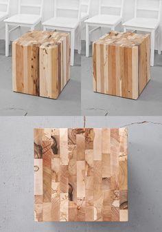 Holzwürfel mit eingelassener Sitzschale aus fünf verschiedenen Hölzern: Nussbaum, Wildakazie, Lawinenholz Bergbuche, Lawinenholz Bergahorn, Knorreiche - www.holzgeschichten.com