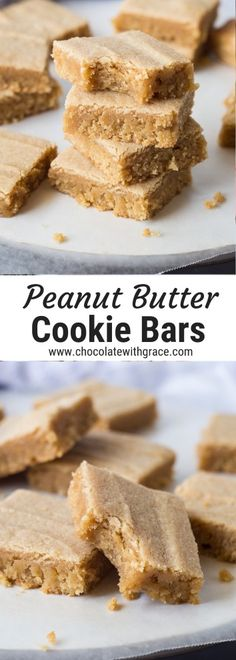 These easy peanut butter cookie bars and just like your favorite peanut butter cookie, but in a thick, chewy blondie bar. A thick peanut butter cookie bar, just like your favorite thick and chewy peanut butter cookie, but only in easy cookie bar form. Peanut Butter Oatmeal Bars, Peanut Butter No Bake, Butter Chocolate Chip Cookies, Peanut Butter Desserts, Homemade Peanut Butter, Peanut Butter Cookie Recipe, Chocolate Chip Oatmeal, Chewy Granola Bars, Easy